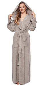women princess model hooded cotton bathrobe