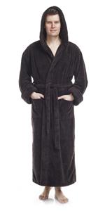 Men's Fleece Robe, Long Hooded Turkish Bathrobe