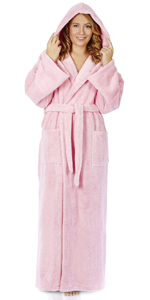 women long hooded fleece bathrobe