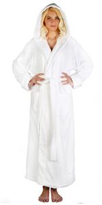 women low twist cotton hooded thick long bathrobe