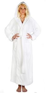 Women's Full Length Long Hooded Soft Twist Turkish Cotton Bathrobe