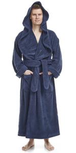 jedi monk style hooded thick long cotton bathrobe