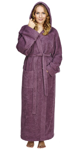 women long hooded cotton bathrobe