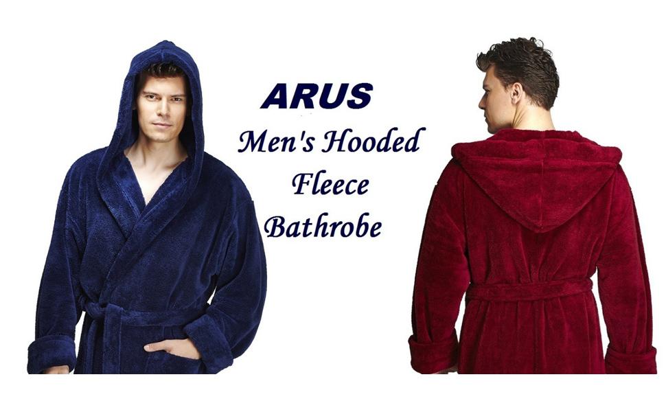 men hooded fleece bathrobe