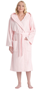 women classic hooded cotton bathrobe
