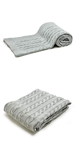 Turkish Cotton Cable Knit Throw Blanket