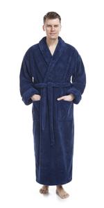 Men's Shawl Collar Full Length Long Fleece Robe, Turkish Bathrobe