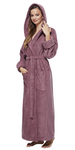 women organic terry cotton hooded bathrobe