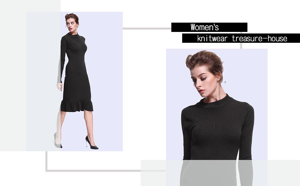 24598c86 ninovino Women's Turtleneck Bodycon Sweater Dress · ninovino Women's  Turtleneck Sweater Pullover Tops · Ninovino Women's Crew Neck Tunic Sweater  ...