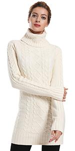 cbef64da ninovino Women's Highneck Slim-Fit Sweater · ninovino Women's Turtleneck  Cable Long Sweater Pullover · ninovino Women' s Turtleneck Pullover Winter  Knitwear ...