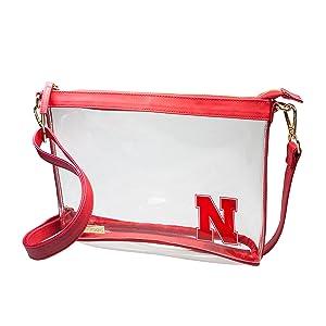 University of Nebraska, Clear Crossbody Bag, Crossbody purse, crossbody bag, capri designs, bag