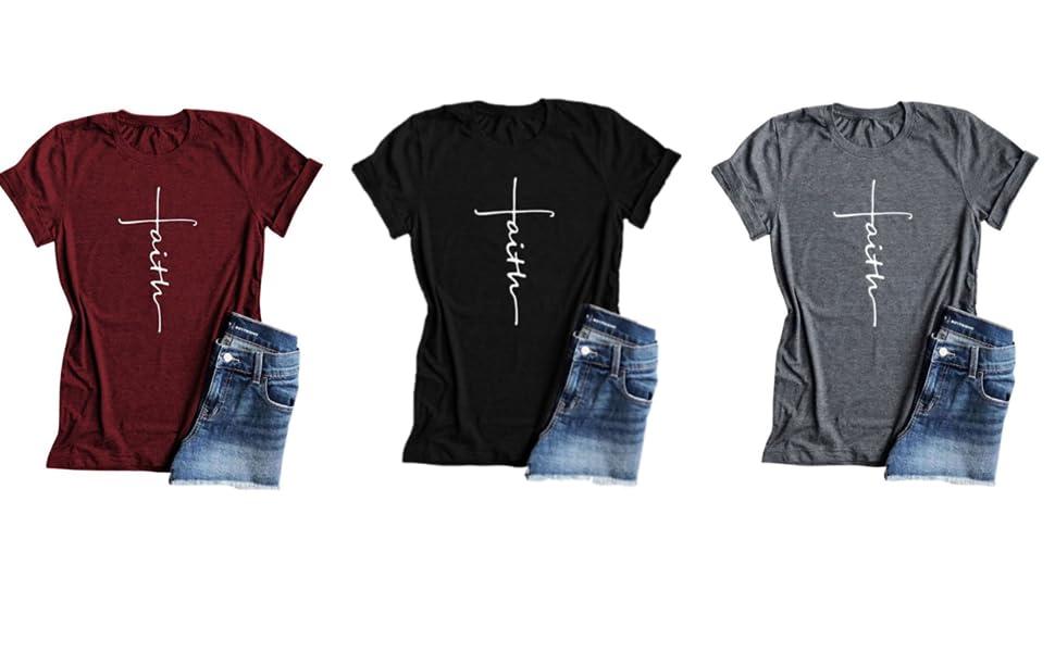 809c03e04 Amazon.com: Qrupoad Women Cross Faith T Shirt Graphic Tees Christian ...