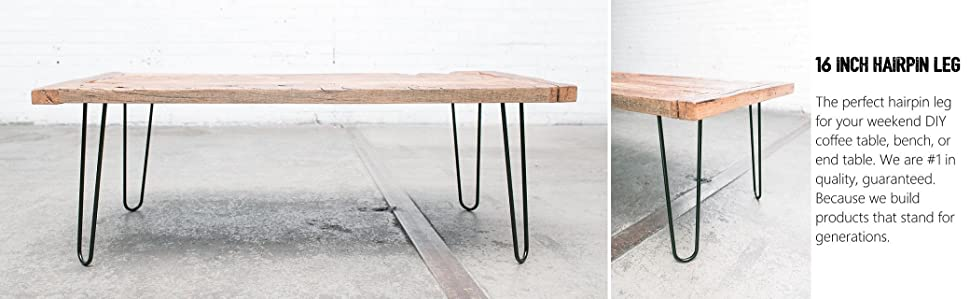 16 hairpin legs satin black industrial strength mid century modern set of 4 table legs. Black Bedroom Furniture Sets. Home Design Ideas