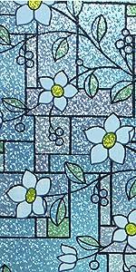 Color Flower Pattern Privacy Window Film