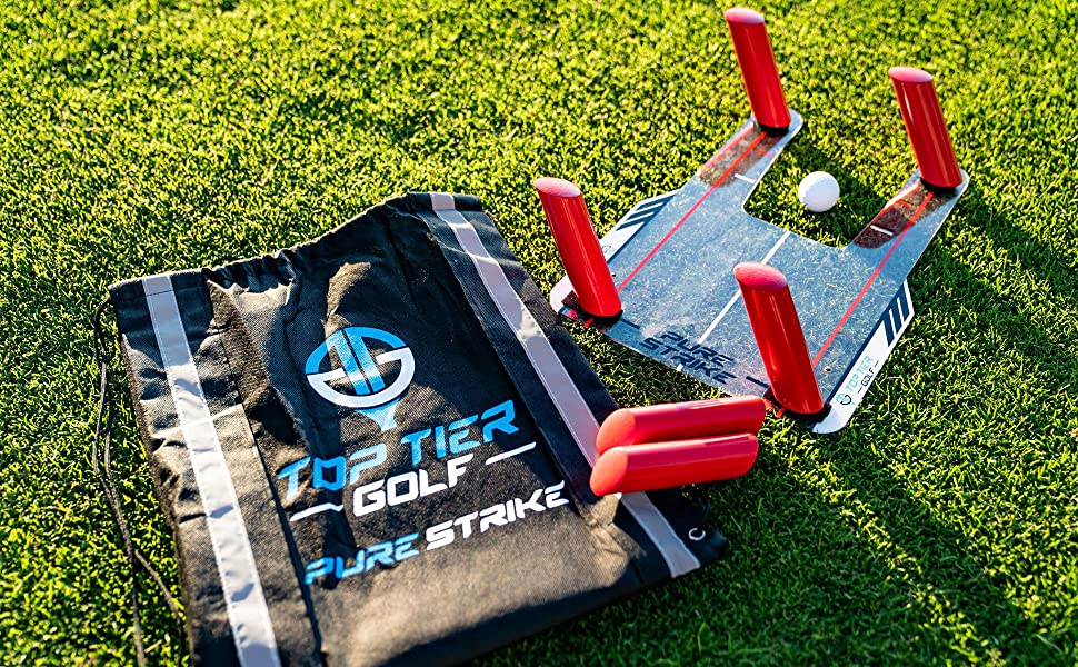 Top Tier Golf Pure Strike - Golf Training Aid with Six [6] Strike Poles, Bag and Accessories Kit! – Golf Swing Trainer, Slice Corrector and Speed ...