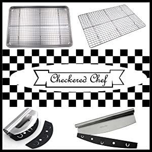 Checkered Chef Pizza cutter rocker sharp large knife brownie pizza stainless steel accessories tools