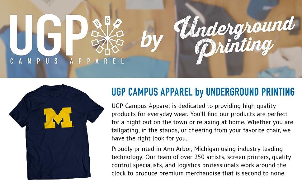 726822ed UGP campus apparel underground printing michigan wolverines primary logo t  shirt navy