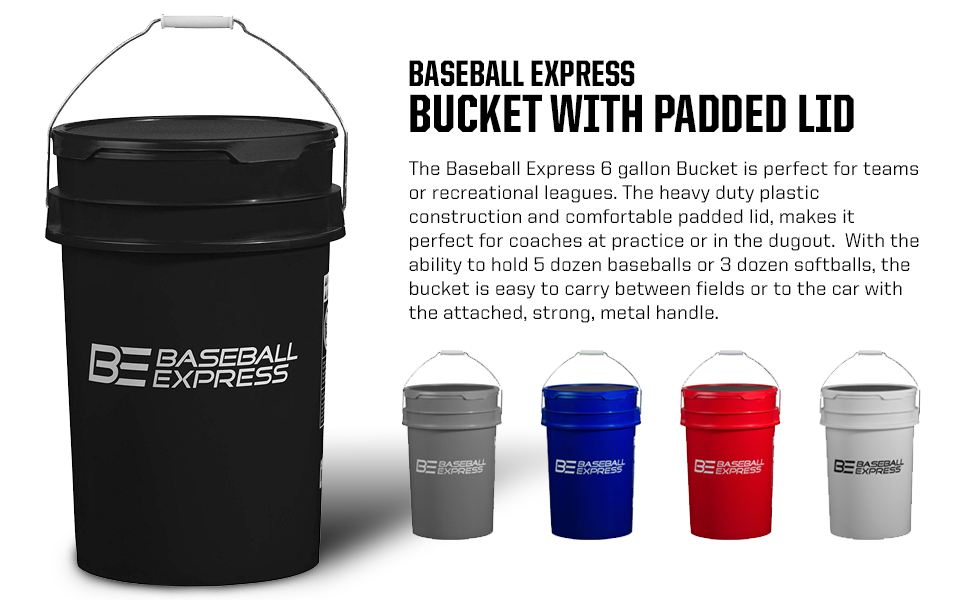 Baseball Express Baseball Express Empty Ball Bucket With Padded Lid