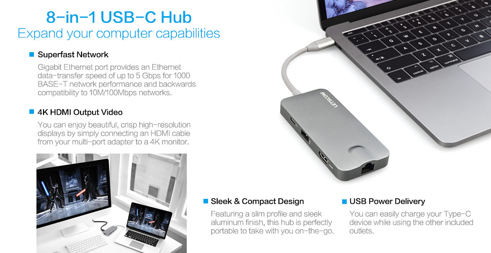 ESHOWEE USB C Hub,7-in-1 USB C Adapter Ethernet Port,4K HDMI,TF//SD Card Reader,Type C Charging,2 USB 3.0 Ports for MacBook Pro 2016//2017 ChromeBook,XPS More USB Type C Devices,Space Gray