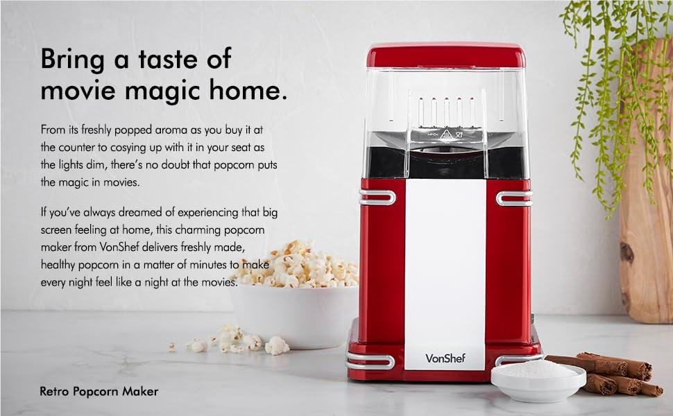 Amazon.com: VonShef - Máquina de hacer palomitas de aire ...