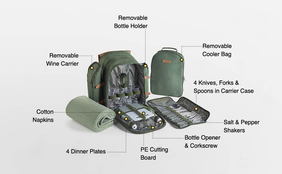 VonShef 4 Person Green Picnic Backpack