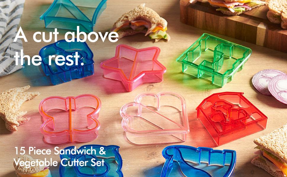 VonShef 15 Pcs Sandwich Cookie /& S//Steel Vegetable Cutter Set