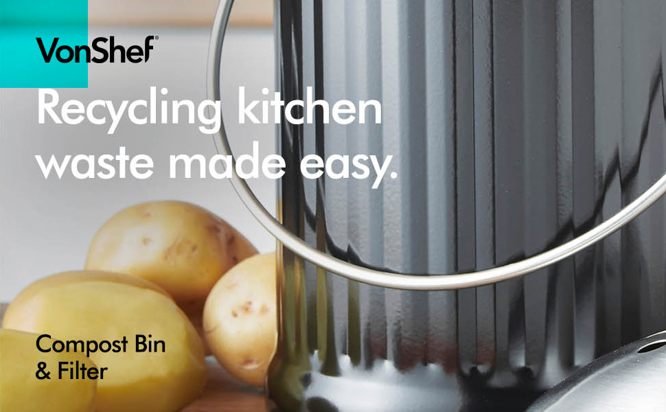 the vonshef stainless steel compost bin is sleek and stylish and is made to store kitchen waste such as vegetable peelings and can be stored