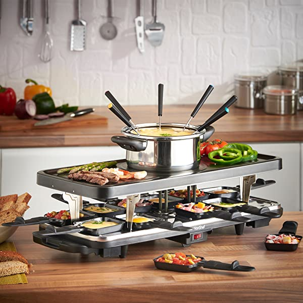 vonshef raclette party grill with 6 fork fondue set and 12 raclette pans kitchen. Black Bedroom Furniture Sets. Home Design Ideas
