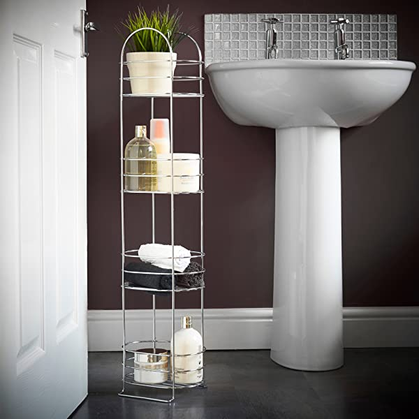 Amazon.com: VonHaus 4 Tier Chrome Bathroom Storage