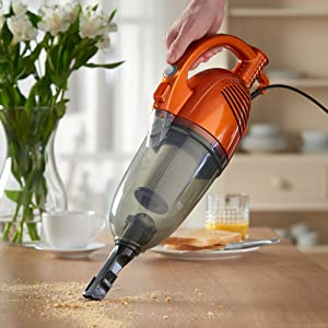 VonHaus 600W 2 in 1 Corded Lightweight Upright Stick & Handheld Vacuum Cleaner with HEPA Filtration - Includes Crevice Tool & Brush Accessories