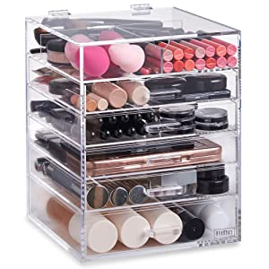 Amazon.com: Beautify Large 6 Tier Clear Acrylic Cosmetic Makeup ...