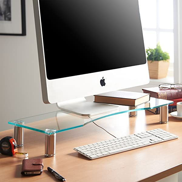 Amazoncom VonHaus Large Curved Glass Monitor Stand Adjustable