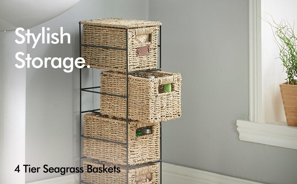 4 Tier Small Seagrass Basket Storage Tower w/ Metal Frame