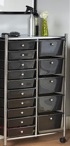 Amazon Com Vonhaus Black 15 Drawer Organizer Cart With
