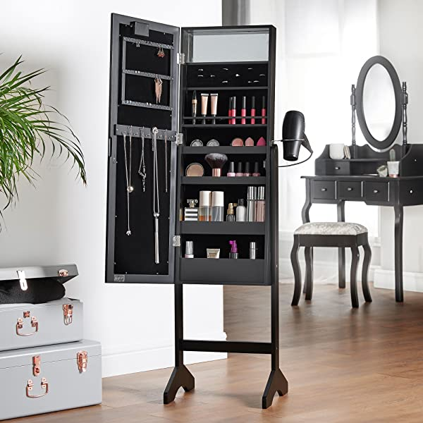 Amazon Com Beautify Mirrored Jewelry Makeup Armoire With
