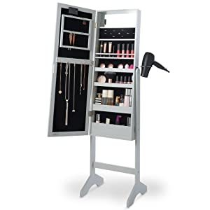 Amazoncom Beautify Mirrored Jewelry Makeup Armoire with LED