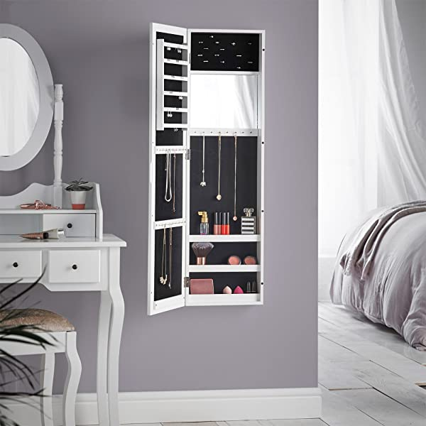 Store And Organize Jewelry And Accessories Stylishly With The Beautify Wall  Mounted Jewelry Cabinet And Mirror.