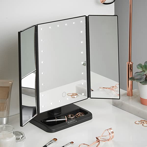 Tri Fold Vanity Mirror With Lights Magnificent Amazon Beautify Vanity Makeup Trifold Mirror 60 LED Lighted