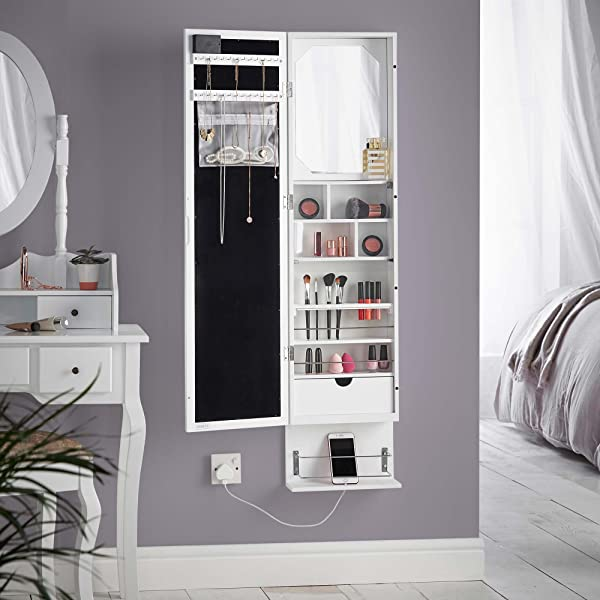 Beautify White LED Wall Mounted Armoire Stylishly Store And Organise Your  Jewellery, Makeup And Accessories With This Vintage Inspired Armoire.