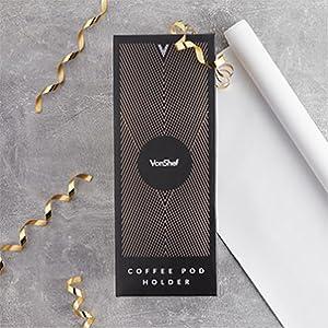 VonShef Café Pod Soporte Giratorio Nespresso compatible Acero Inoxidable Oro