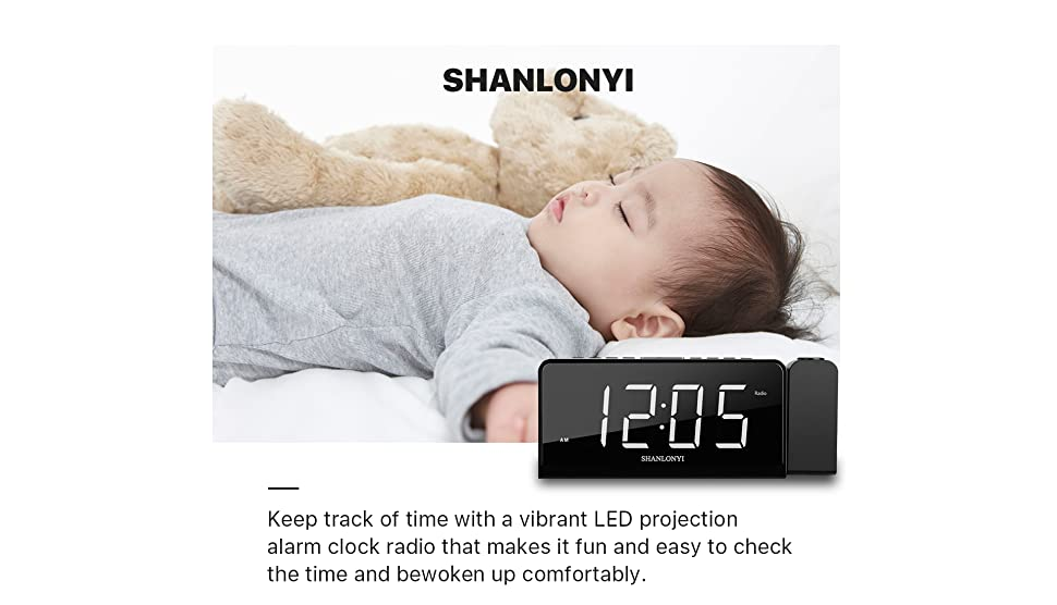 "SHANLONYI Projection Alarm Clock Radio with AM/FM, Time Projector, Mobile Device USB Charging Station, Large 7"" LED Display, Dual Alarm, Battery ..."