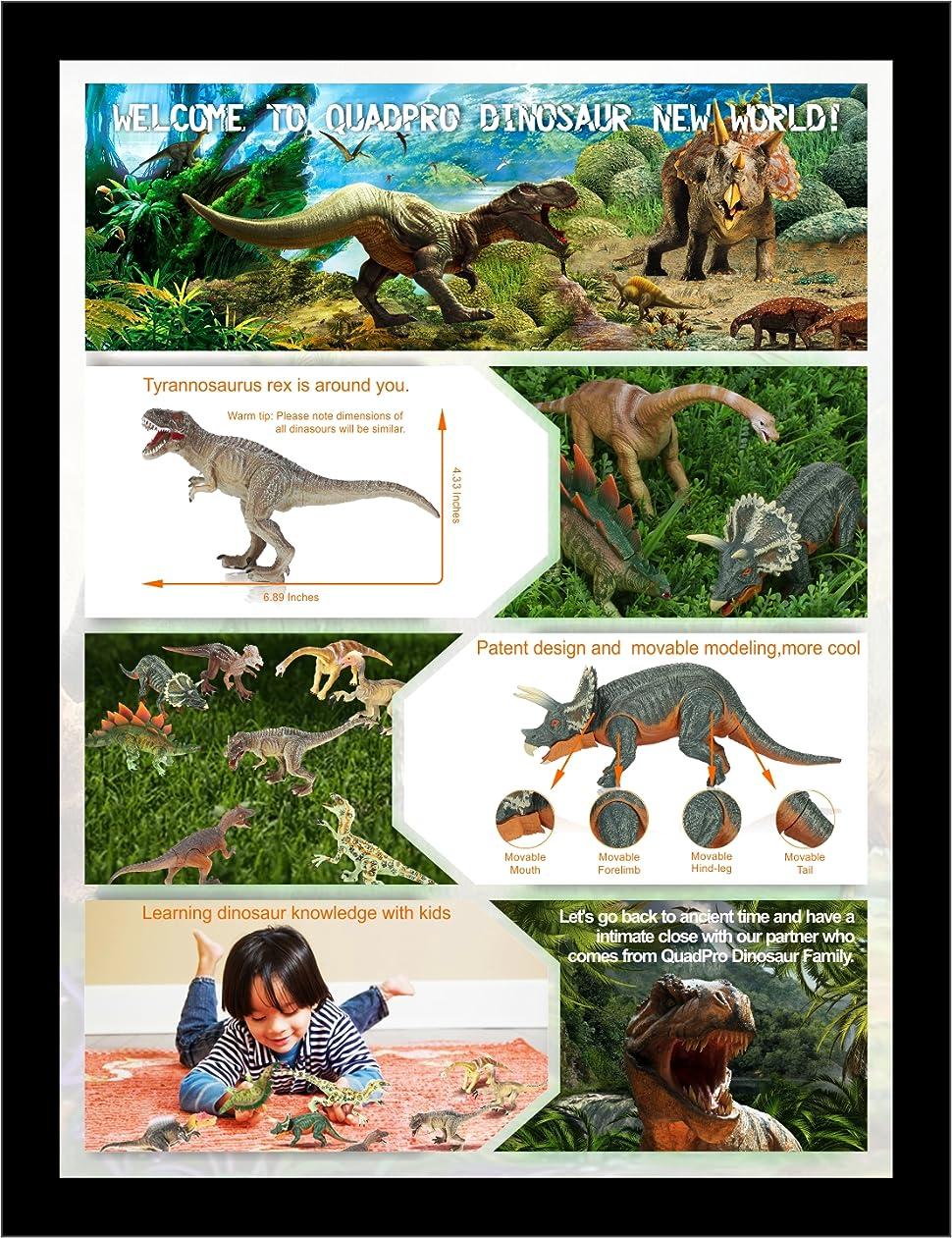 amazon com quadpro dinosaur toys sets for kids 8 piece jumbo