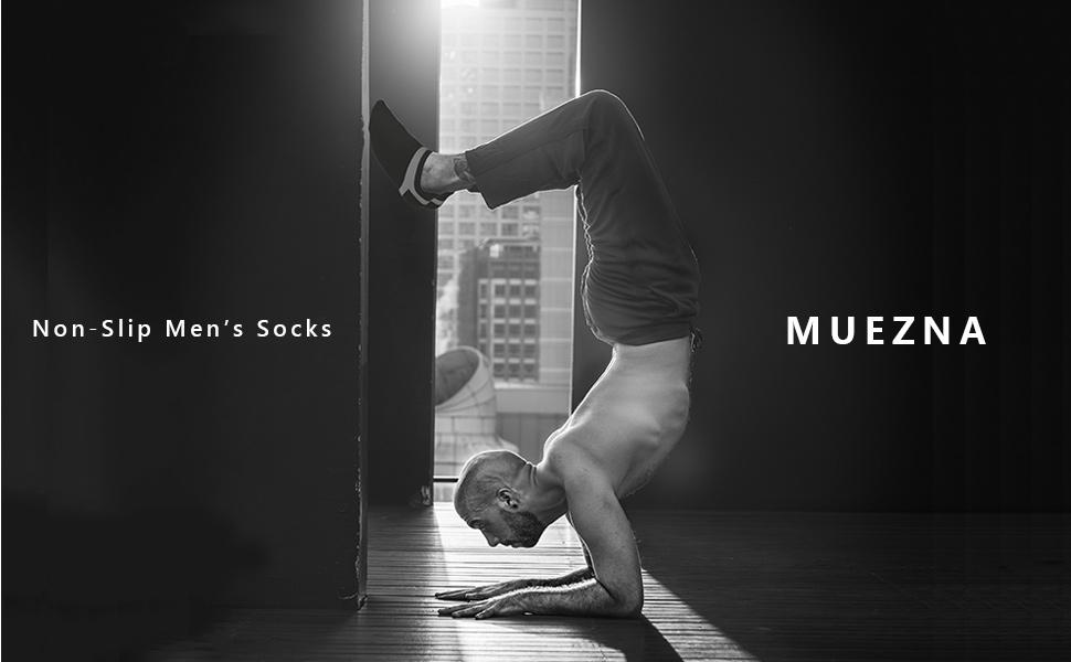 Amazon.com: Muezna Mens Non-Slip Yoga Socks, Anti-Skid ...