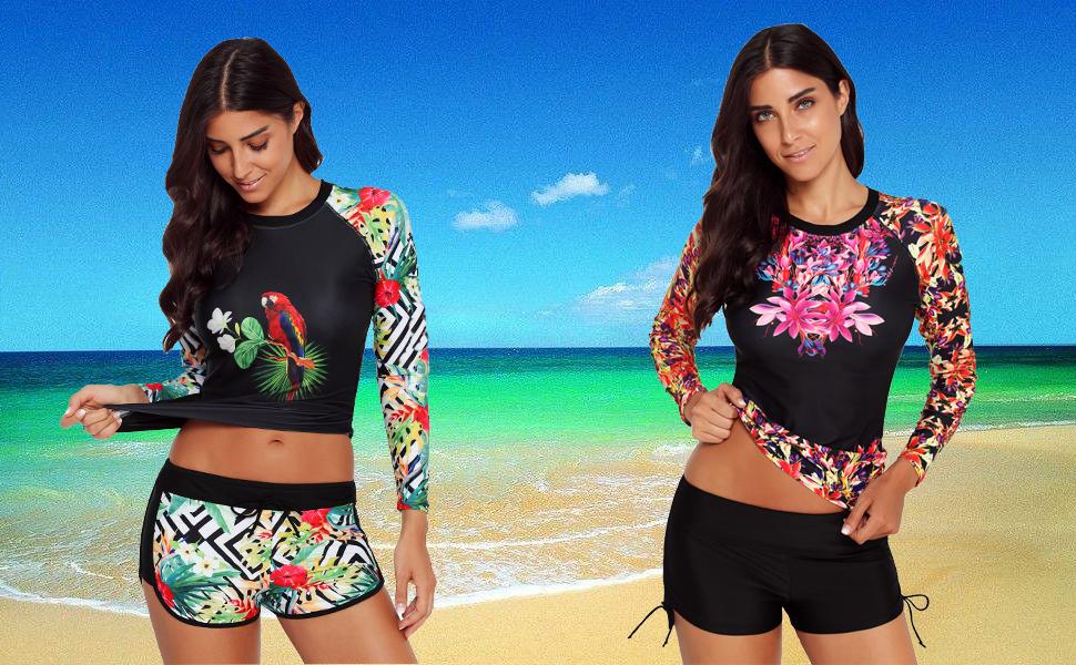 Runtlly Womens Long Sleeve Rash Guard Swimsuit Sun Protection Sport Wetsuit Two Piece Swimsuit Set S-XXXL
