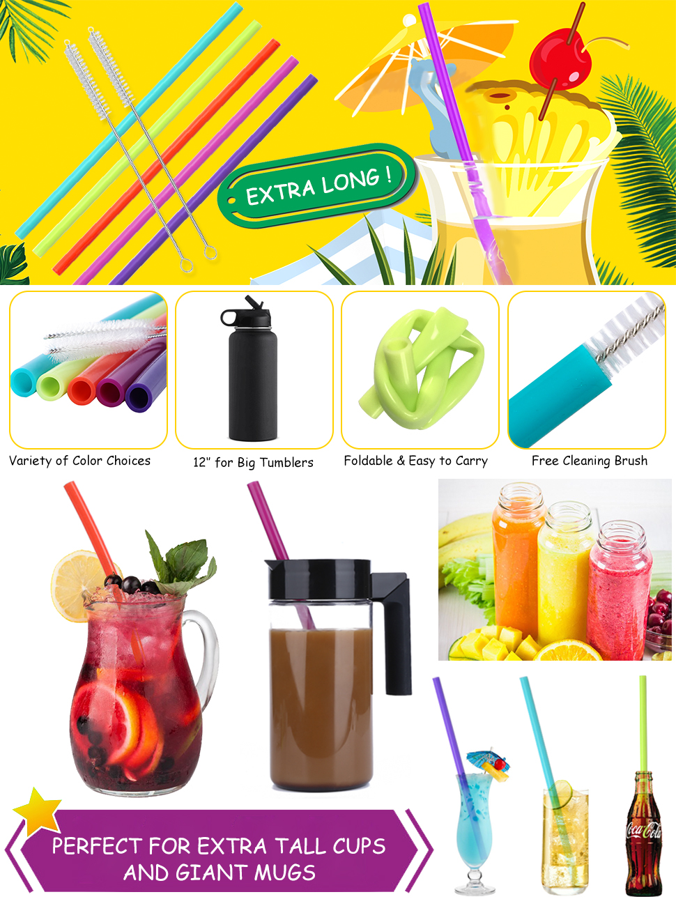 Hiware 12 Inch Extra Long Silicone Straws For Big Fitti Rainbow Regular S 12x12 Bags Product Description