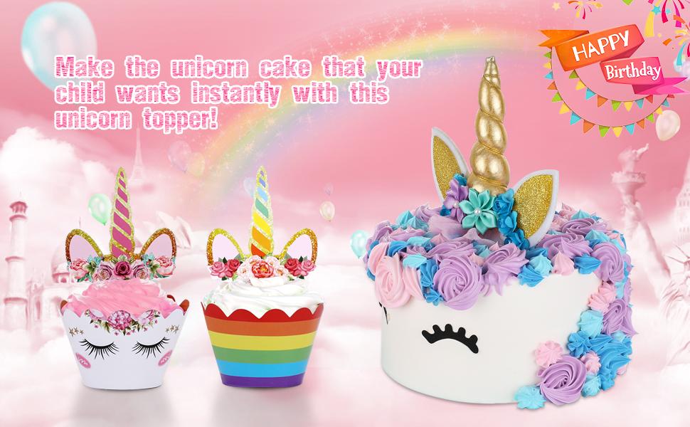 Amazon Unicorn Cake Topper With Eyelashes And Unicorn Cupcake
