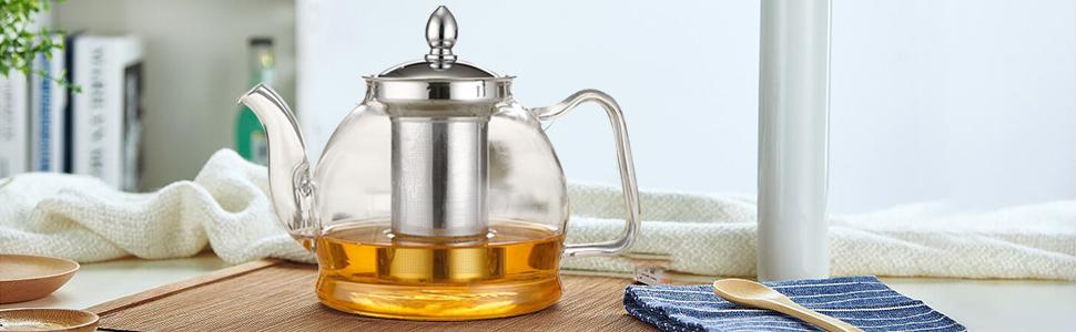 Perfecto para infusionar hierbas fruta suelta t/é en casa cocina 1100 ml. Tetera de cristal resistente al calor con colador de acero inoxidable y mango de tacto fr/ío Tetera de cristal Ossian