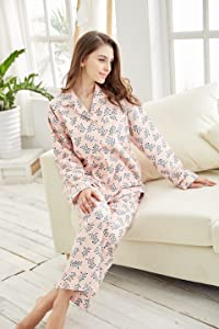 Tony   Candice Women s 100% Cotton Long Sleeve Flannel Pajama Set ... 679ad0d0b
