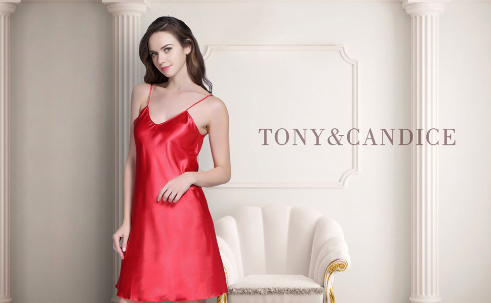 4a3b5e725 Tony   Candice Women s Satin Nightgown Sexy Long Camisole Chemise ...