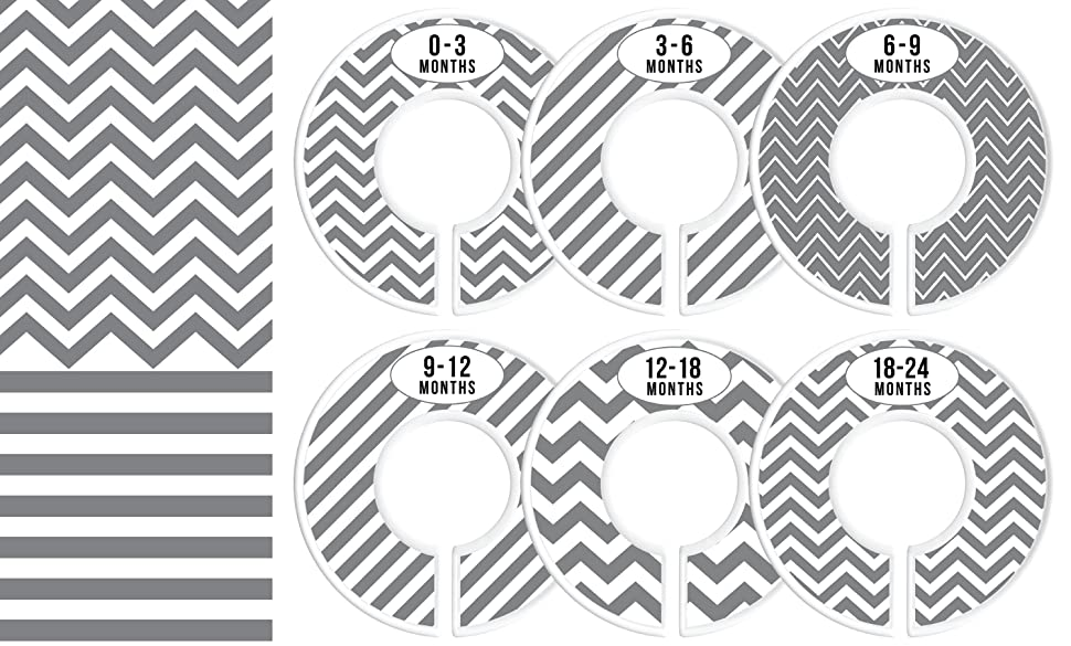 Delicush Baby Closet Dividers, Stripe, Chevron, Set Of 6 Size Organizers,  Nursery Closet Organizers, Baby Size ...